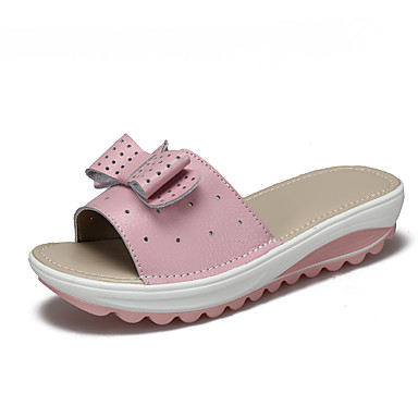 voordelige Damespantoffels & slippers-Dames Slippers & Flip-Flops Sleehak Rubber Zomer / Lente zomer Stoffige roos / Wit / Zwart