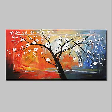 Hang-Malowane obraz olejny Ręcznie malowane - Abstrakcja / Kwiatowy / Roślinny Nowoczesny Brezentowy / Rozciągnięte płótno