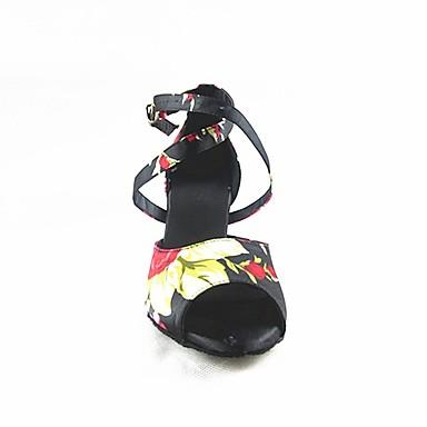 Femme Chaussures Latines Satin Satin Satin   / Talon Talon Bobine Personnalisables Chaussures de danse Noir / Utilisation 003e15