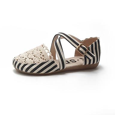 Pentru femei Pantofi PU Primavara vara Confortabili Pantofi Flați Plimbare Toc Drept Vârf deschis Ținte Negru / Maro Închis