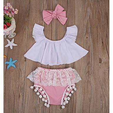 رخيصةأون أكثر مبيعا-مجموعة ملابس قطن بدون كم ألوان متناوبة أساسي للفتيات طفل / طفل صغير