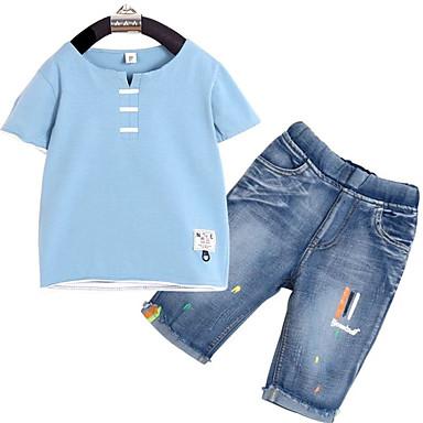 Dzieci Dla chłopców Podstawowy Solidne kolory Krótki rękaw Komplet odzieży