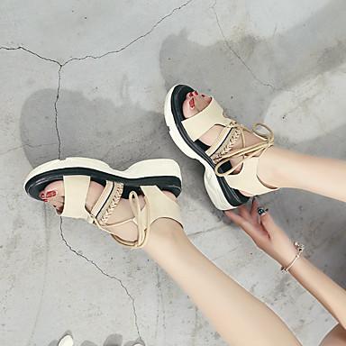 Noir Marche Bout 06713860 Confort Femme Daim Chaussures pointu Creepers Beige Eté Polyuréthane Sandales xvvAHp4w