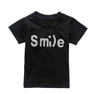 baratos Camisas para Meninos-Infantil Bébé Para Meninos Activo Diário Estampado Estampado Manga Curta Padrão Algodão Camiseta Preto