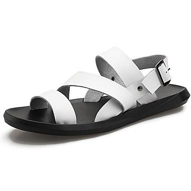 Męskie Buty Skórzany Lato Comfort Sandały White / Black