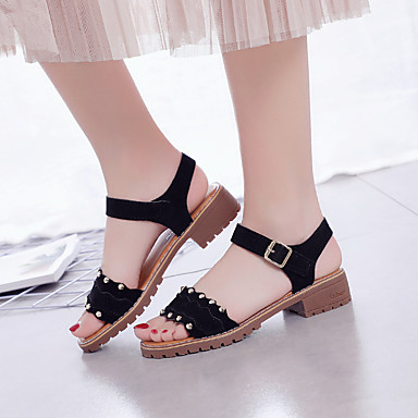 Sandalias Zapatos Negro Beige bloque redondo Talón Ante Paseo Mujer Confort Pedrería Verano Dedo 06669988 de IwqqOd7