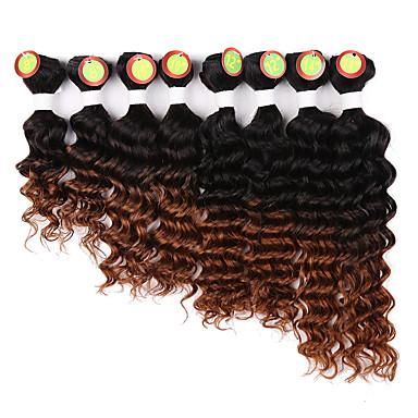 povoljno Perike i ekstenzije-8 paketića Brazilska kosa Klasika Duboko Val Remy kosa Ombre 8-14 inch Crna Ombre Isprepliće ljudske kose Rasprodaja Proširenja ljudske kose / 10A
