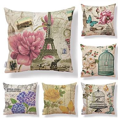 6 szt Tekstylny / Cotton / Linen Poszewka na poduszkę, Kwiaty / Art Deco / Drukowany Kwadratowe / Vintage