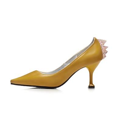 Negro Paseo PU Tacón Zapatos verano 06695182 Tacones Básico Pump microfibra Stiletto Puntiagudo Primavera Mujer Dedo sintético Amarillo 6q5WSznpw