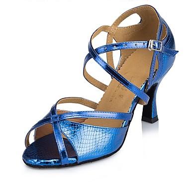 baratos Sapatos de Samba-Mulheres Sapatos de Dança Courino Sapatos de Dança Latina / Sapatos de Salsa / Sapatos de Samba MiniSpot Salto Salto Alto Magro Personalizável Azul / Espetáculo / Couro / Ensaio / Prática