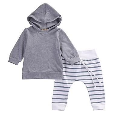 billige Tøjsæt til drenge-Baby Drenge Aktiv Fest Daglig Ensfarvet Stribet Langærmet Normal Normal Bomuld Tøjsæt Grå / Sødt