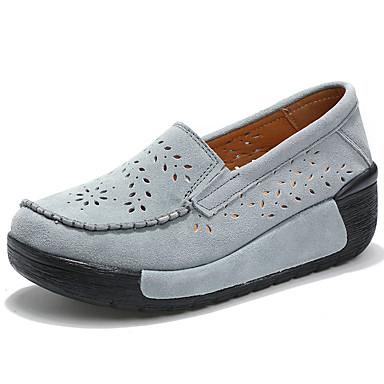 Pentru femei Pantofi Piele de Căprioară Toamna iarna Confortabili / Pantofi Moi Mocasini & Balerini Creepers Gri / Rosu / Roz