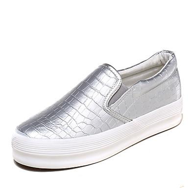 Damskie Obuwie Syntetyczny Microfiber PU Wiosna lato Comfort / Wulkanizowane buty Tenisówki Niski obcas Okrągły Toe Fałdki boczne Black /