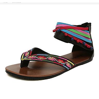 Pentru femei Pantofi Imitație Piele Primavara vara Confortabili Sandale Toc Drept Vârf deschis Dantelă de Cusut / Legătură Panglică