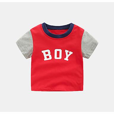 Dzieci Dla chłopców Aktywny Kolorowy blok Krótki rękaw Poliester T-shirt Biały 100
