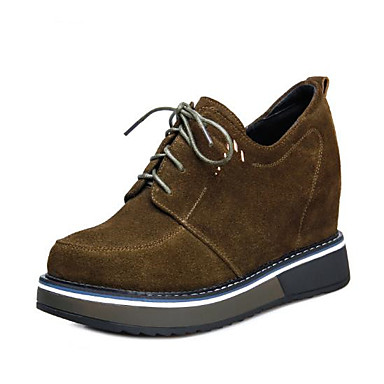 Women's Shoes Cowhide Fall Comfort Oxfords Wedge Heel Round Toe for Outdoor  Black / Army Green