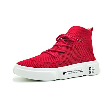 Pentru femei Pantofi PU Primavara vara Confortabili Adidași Plimbare Toc Drept Vârf rotund Alb / Negru / Rosu