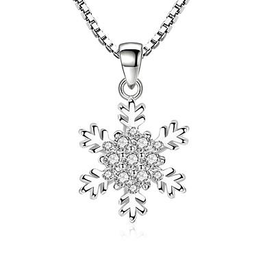 8e1d70268450 Zirconia Cúbica diamante pequeño Collares con colgantes Copo de Nieve damas  Dulce Moda Plata 45 cm Gargantillas Joyas Para Fiesta Diario