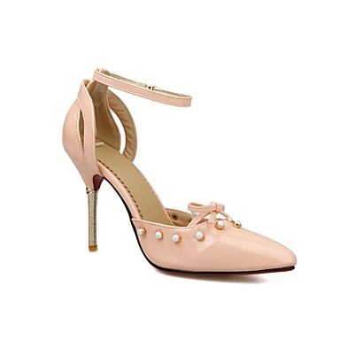 Imitation Chaussures Printemps Aiguille Noeud Talons Talon Bride Bout été Perle 06680779 pointu à Similicuir Cheville Chaussures de Femme AqwZw