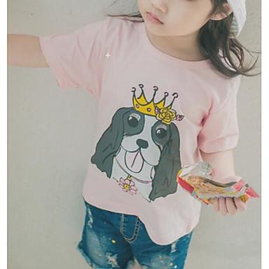 Brzdąc Dla dziewczynek Aktywny Nadruk Krótki rękaw Bawełna T-shirt