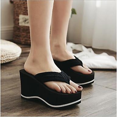 Pentru femei PVC Vară Confortabili Papuci & Flip-flops Toc Platformă Vârf rotund Negru