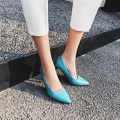 Chaussures Basique Femme pointu 06665749 Similicuir Talon clair Talons Printemps à Jaune Bleu Escarpin Bout Chaussures Rose Aiguille xq1qXS