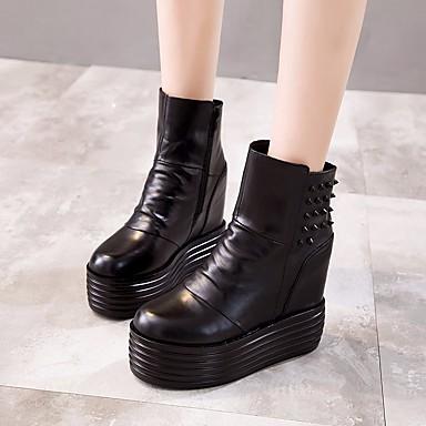 Creepers Femme Mode Bottes Hiver Mi Automne 06682863 mollet Confort la Cuir Chaussures Bottes à Bottes Noir vqF8rvz