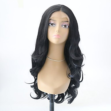 Syntetisk Lace Front Parykker Krøllet Frisure i lag Syntetisk hår Natural Hairline Sort Paryk Dame Lang Blonde Front Sort / Ja