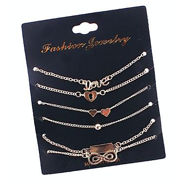 abordables Bracelet-Breloque Charms Bracelet Multirang Empiler Cœur Infini dames simple Mode Multicouches Bracelet Bijoux Dorée pour Quotidien