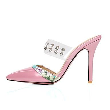 Descubierto Stiletto Zapatos 06716815 Tacón Cuero Pedrería Rosa Dedo Almendra Sandalias Mujer Rojo Paseo Talón Verano Patentado Puntiagudo aHqndwCX