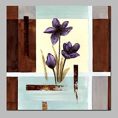 Hang-Malowane obraz olejny Ręcznie malowane - Streszczenie / Kwiatowy / Roślinny Nowoczesny Brezentowy