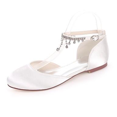 c0f29404d1b Women s Shoes Satin Spring   Summer Ballerina Flats Flat Heel Round Toe  Rhinestone Red   Champagne