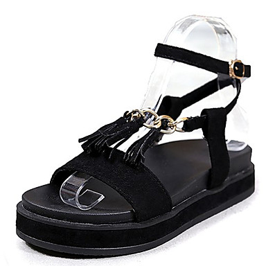 Pentru femei PU Vară Pantofi pe Gleznă Sandale Toc Drept Cataramă Negru / Kaki