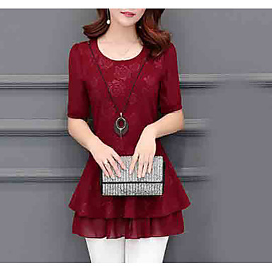 women's blouse - solid colored round neck