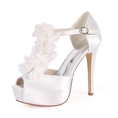 Mujer Zapatos Satén Primavera verano Pump Básico Zapatos de boda Tacón Stiletto Puntera abierta Perla de Imitación / Flor de Satén / 9X2PW