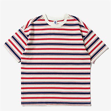 baratos Camisas para Meninos-Infantil Para Meninos Básico Listrado Manga Curta Camiseta Verde
