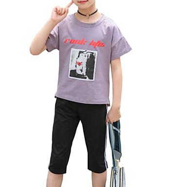 Copii Fete Activ Zilnic Imprimeu Imprimeu Manșon scurt Regular Bumbac / Poliester Set Îmbrăcăminte Roz Îmbujorat 140