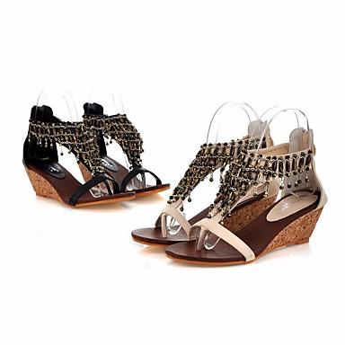 compensés Chaussures Hauteur de Femme Noir Confort compensée 06656240 Eté semelle Talons Sandales Amande Polyuréthane 7YdpYq