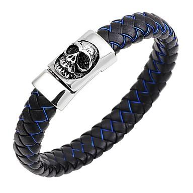 baratos Bangle-Homens Bracelete Pulseiras de couro Magnética Caveira Clássico Vintage Fashion Aço Inoxidável Pulseira de jóias Azul Escuro / Café / Marron Para Presente Rua / Pele