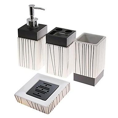 Zestaw akcesoriów łazienkowych / Stojak na szczoteczki do zębów / Mydło Naczynia i świeczki Kreatywne Ceramiczny 4szt - Łazienkowe