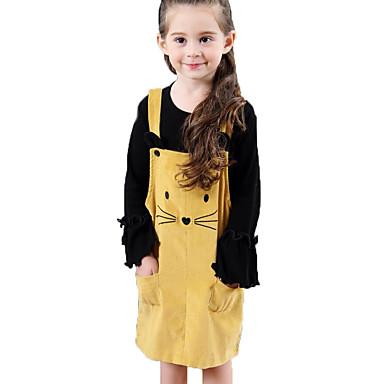 Dzieci / Brzdąc Dla dziewczynek Aktywny / Słodkie Wyjściowe Kot Jendolity kolor Nadruk Bez rękawów Do kolan Sukienka / Bawełna