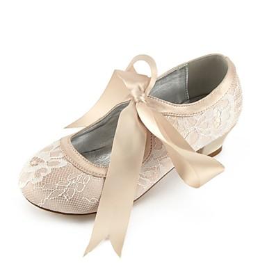 baratos Sapatos de Criança-Para Meninas Sapatos Renda Primavera Conforto / Bailarina / Tira no Tornozelo Saltos Laço / Presilha / Cadarço para Infantil Prateado /