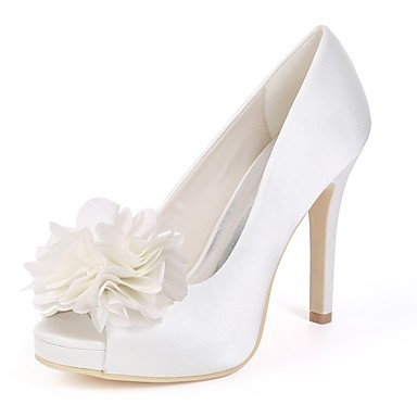 Women's Shoes Satin Spring Basic Pump Wedding Toe Shoes Stiletto Heel Peep Toe Wedding White / Ivory 21a365