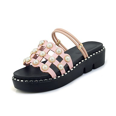 Pentru femei Pantofi Imitație de Piele Vară Confortabili / Pantof cu Berete Sandale Creepers Vârf deschis Imitație de Perle Alb / Negru /