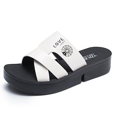 Pentru femei Pantofi PU Vară Pantof cu Berete Sandale Creepers Alb / Negru