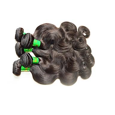 baratos Extensões de Cabelo Natural-5 pacotes Cabelo Indiano Onda de Corpo 10A Cabelo Virgem Cabelo Natural Remy Extensões de Cabelo Natural Côr Natural Tramas de cabelo humano Macio Suave Venda imperdível Extensões de cabelo humano
