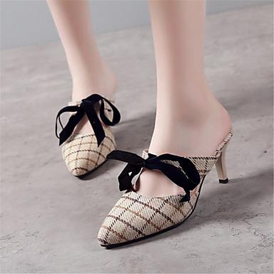 Similicuir 06684063 Bout Mules Printemps Noir Talon Confort amp; été Sabot Gris Aiguille pointu Chaussures Paillette Femme Amande aBxEP8