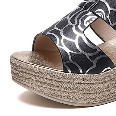 Negro Confort Mujer Tacón 06682566 Rosa flip Verano PU y Zapatillas Blanco Zapatos Cuña flops xHqfA