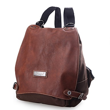 cheap Backpacks-Women's Bags Canvas Backpack Buttons Crocodile Coffee / Dark Brown