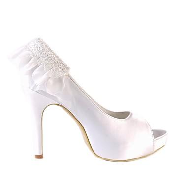 Satin Aiguille Blanc Basique Chaussures 06666652 de Chaussures Femme Talon Printemps mariage Escarpin 5wqSOBvz